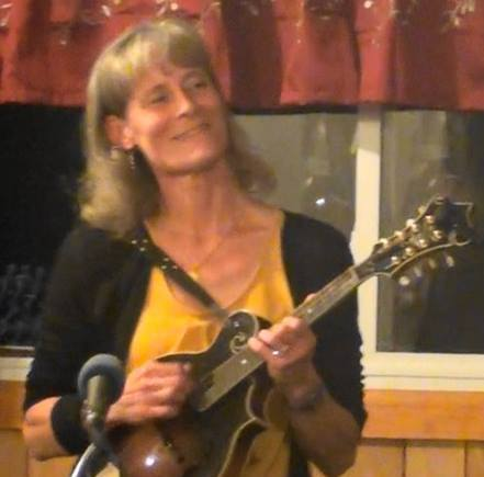 Susan Shook plays mandolin with Vernon McIntyre's Appalachian Grass at the Butler County Bluegrass Association.