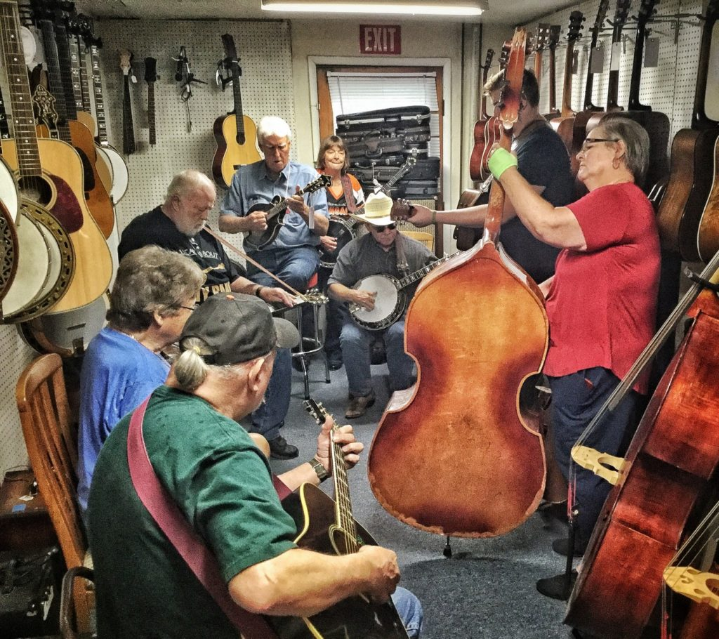 picture of Jam Session in the backroom at Vernon McIntyre's Famous Old Time Music Company Grand Opening August 31, 2019